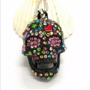 Jewelry - Black Colorful Crystal Skull Necklace
